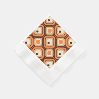 Orange, brown and beige squares disposable serviette