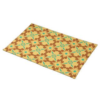 Orange Brown And Turquoise Talavera Tile Pattern Placemat