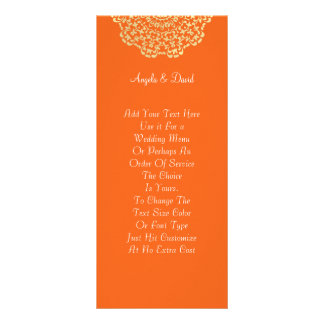 Orange Brown Gold Lacy Pattern Personalized Rack Card