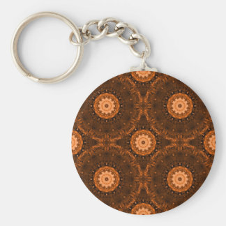 Orange & Brown Mandala Basic Round Button Key Ring