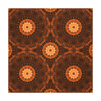 Orange & Brown Mandala Canvas Prints