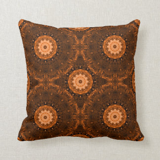 Orange & Brown Mandala Throw Cushion