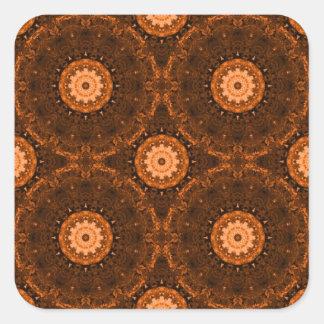 Orange & Brown Mandala Square Sticker