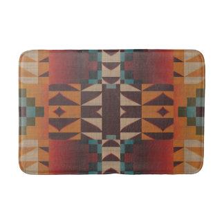Orange Brown Red Teal Blue Tribal Mosaic Pattern Bath Mats