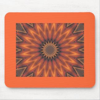 Orange & brown star kaleidoscope pattern mouse pads