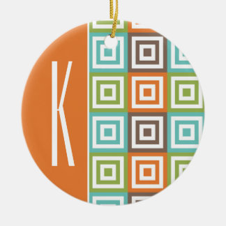 Orange, Brown, Teal, and Green Retro Squares Round Ceramic Decoration