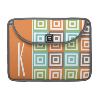 Orange, Brown, Teal, and Green Retro Squares Sleeves For MacBooks
