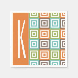 Orange, Brown, Teal, and Green Retro Squares Paper Napkin