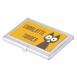 Orange Brown Triangle Symbolic Cat Business Card Case