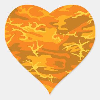 Orange Camo Heart Sticker