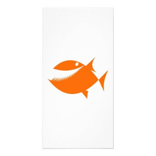 Orange Cartoon Fish Picture Card
