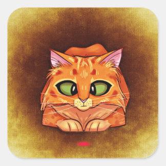 Orange Cat Looking Laser Pointer Square Sticker