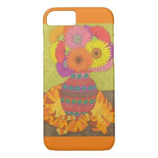Orange Cat with Vase of Gerbera Daisies iPhone 7 Case