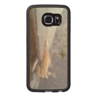 Orange Cat Wood Phone Case