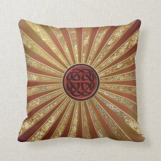 Orange Celtic Knot on Metallic Gold and Leather Throw Cushion