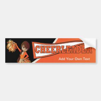 Orange Cheerleader Diva Girl Bumper Sticker