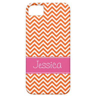 Orange Chevron Chic Pink Personalized Barely There iPhone 5 Case