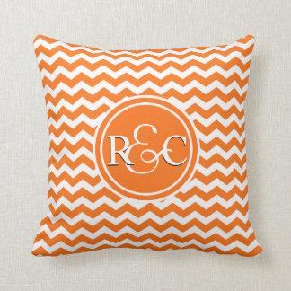 Orange Chevron Personalized Initial Monogram Throw Pillow