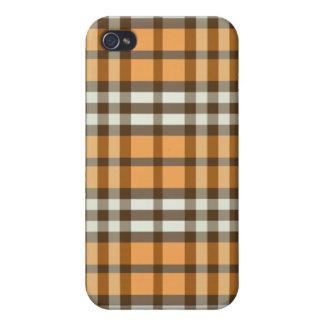 Orange/Chocolate Brown Plaid Pern iPhone 4/4S Case