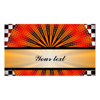 Orange circle & black & white checkerboard pack of standard business cards