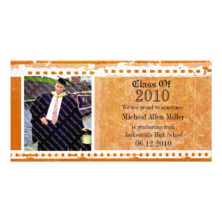 Orange Citrus Grunge Graduation Photo Card