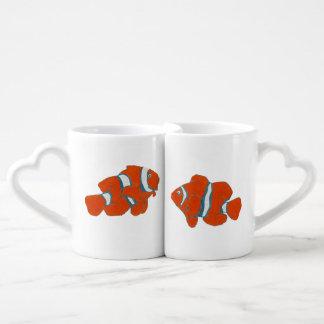 orange clown fishes lovers mug set