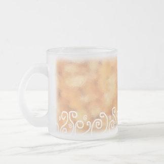orange color abstract (mug design) frosted glass mug