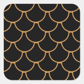 orange colored fish scale square sticker