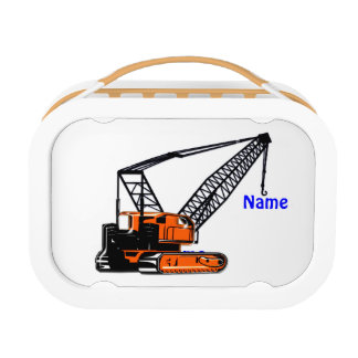 Orange Construction Crane Lunch Box