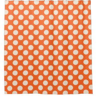 Orange Cream Polka Dots Pattern Shower Curtain