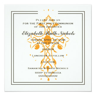 Orange Cross First Communion Baptism Confirmation Card