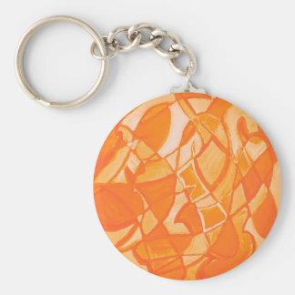 Orange Crush Abstract by  Kara Willis Basic Round Button Key Ring