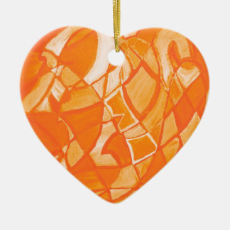 Orange Crush Abstract by  Kara Willis Christmas Ornament