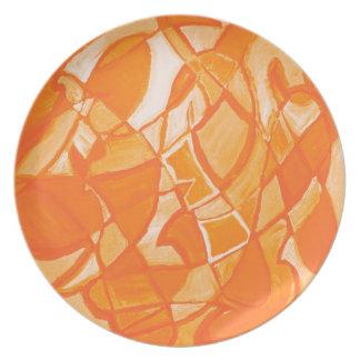 Orange Crush Abstract by  Kara Willis Plate