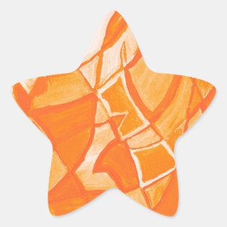 Orange Crush Abstract by  Kara Willis Star Sticker