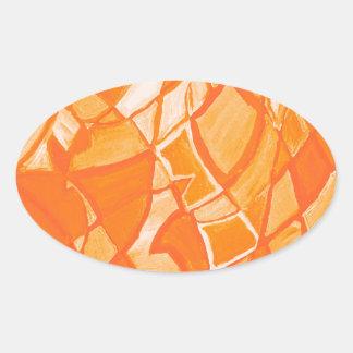 Orange Crush Abstract by  Kara Willis Oval Sticker