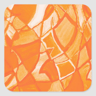Orange Crush Abstract by  Kara Willis Square Stickers