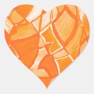 Orange Crush Abstract by  Kara Willis Heart Sticker