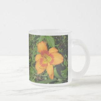 Orange Crush Daylily Frosted Glass Coffee Mug