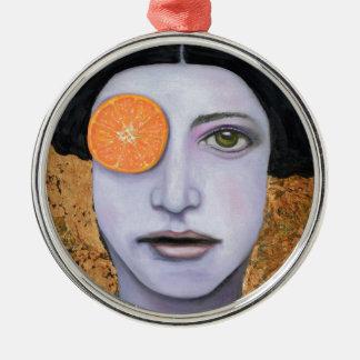 Orange Crush Silver-Colored Round Decoration
