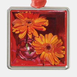 Orange Crush Silver-Colored Square Decoration