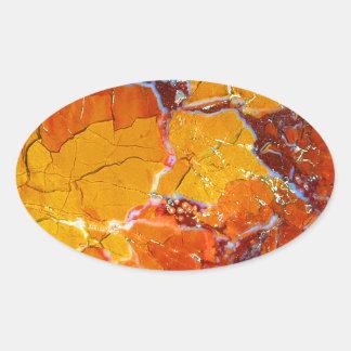 Orange-Crushed Texture Oval Sticker