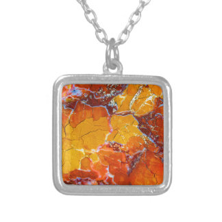 Orange-Crushed Texture Square Pendant Necklace