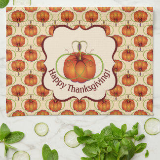 Orange Curvy Pumpkin Autumn Pattern Tea Towel