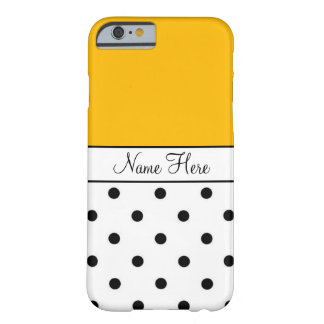 Orange Custom Name, Black And White Polka Dots Barely There iPhone 6 Case