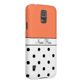 Orange Custom Name, Black & White Polka Dots Galaxy S5 Cases