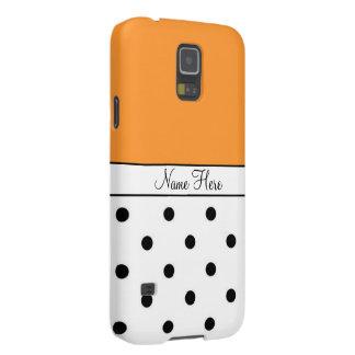 Orange Custom Name, Black & White Polka Dots Galaxy S5 Cover