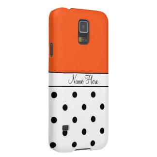 Orange Custom Name, Black & White Polka Dots Galaxy S5 Case