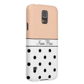 Orange Custom Name, Black & White Polka Dots Cases For Galaxy S5