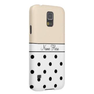 Orange Custom Name, Black & White Polka Dots Galaxy S5 Covers